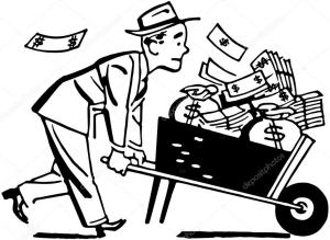 Wheelbarrow of cash